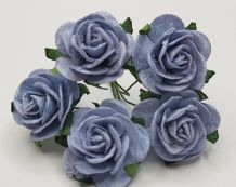 BABY BLUE ROSES (2.5 cm) Mulberry Paper Roses